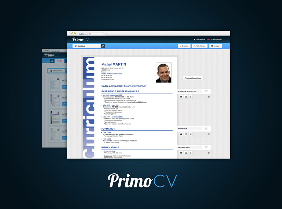 primocv  l u2019application web pour vous aider  u00e0 cr u00e9er vos cv en fonction de votre profil