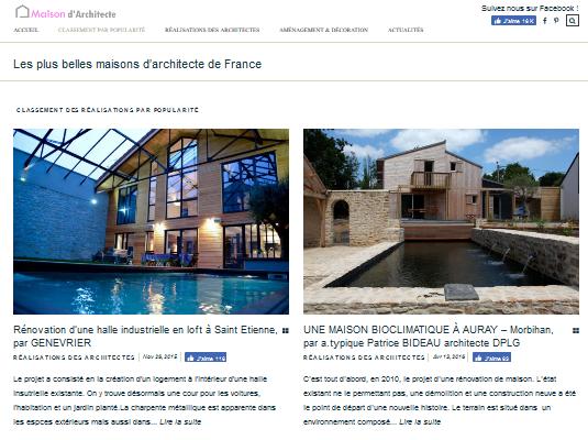 D couvrez les plus belles maisons d 39 architectes de france for Architectes de france